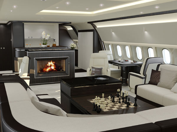 2015 luxury plane interior fireplace