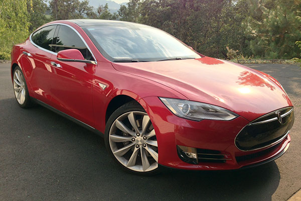 Tesla Model S luxury car red