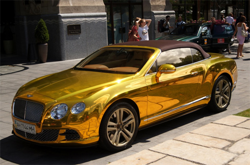 gold golden bentley continental luxury car