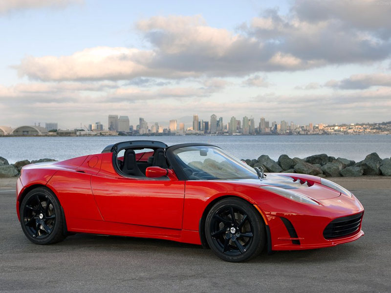 red 2015 tesla roadster luxury car
