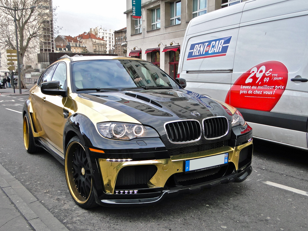 gold bmw x6 hamann design